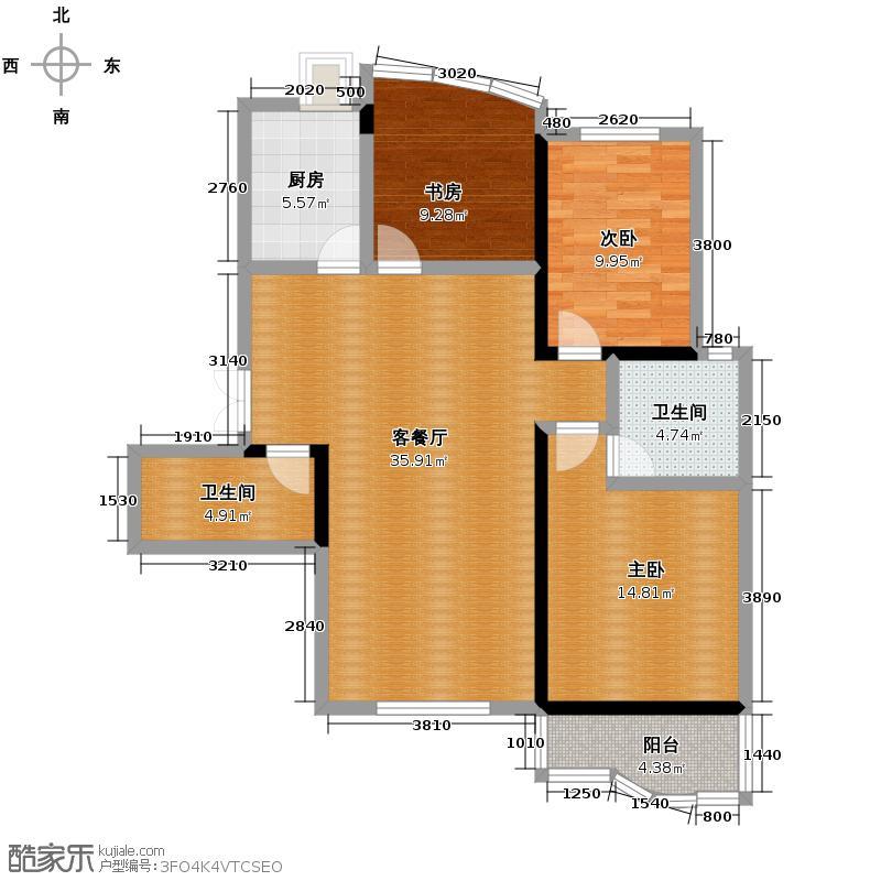 天元2005139.59㎡户型3室1厅2卫1厨