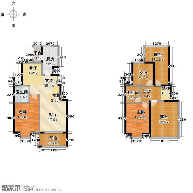 江南名苑146.02㎡A2跃层户型3室2厅2卫