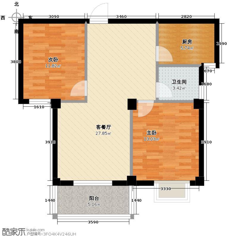 金盛浦沿公寓74.81㎡户型2室1厅1卫1厨