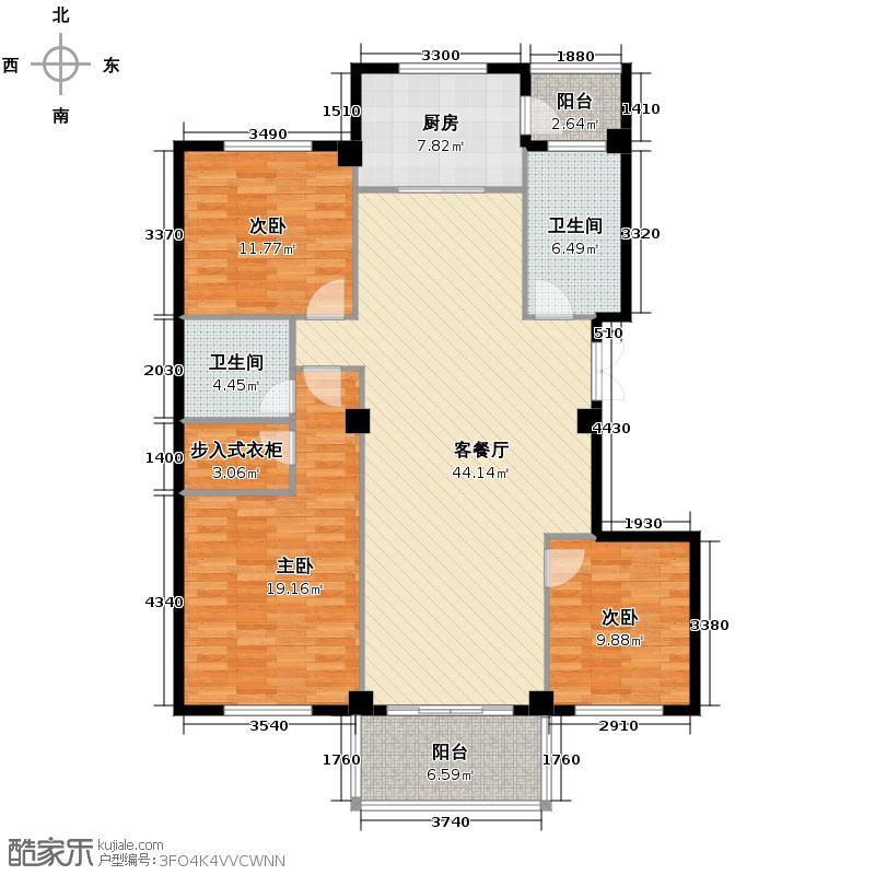 锦绣山水苑136.49㎡户型3室1厅2卫1厨