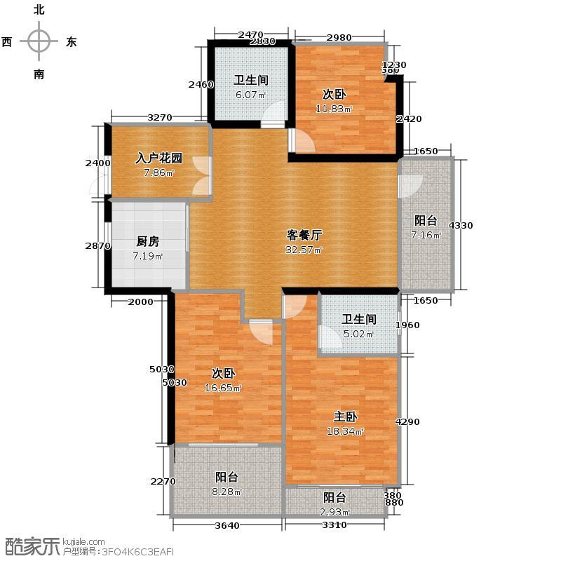 野风启城129.00㎡湾景城市公寓4号楼东边套户型3室2厅2卫