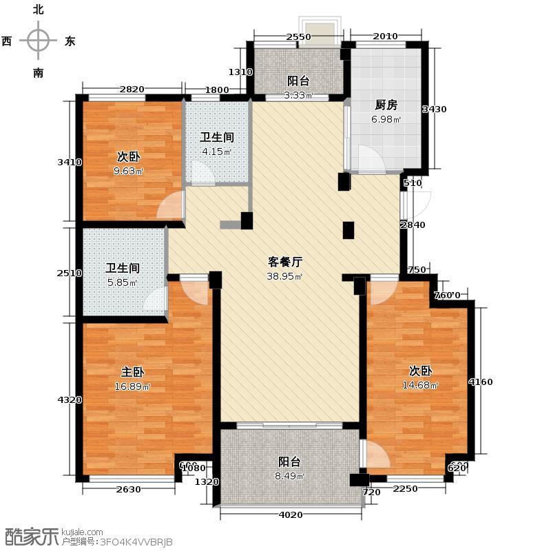 筑境2050132.91㎡户型3室1厅2卫1厨