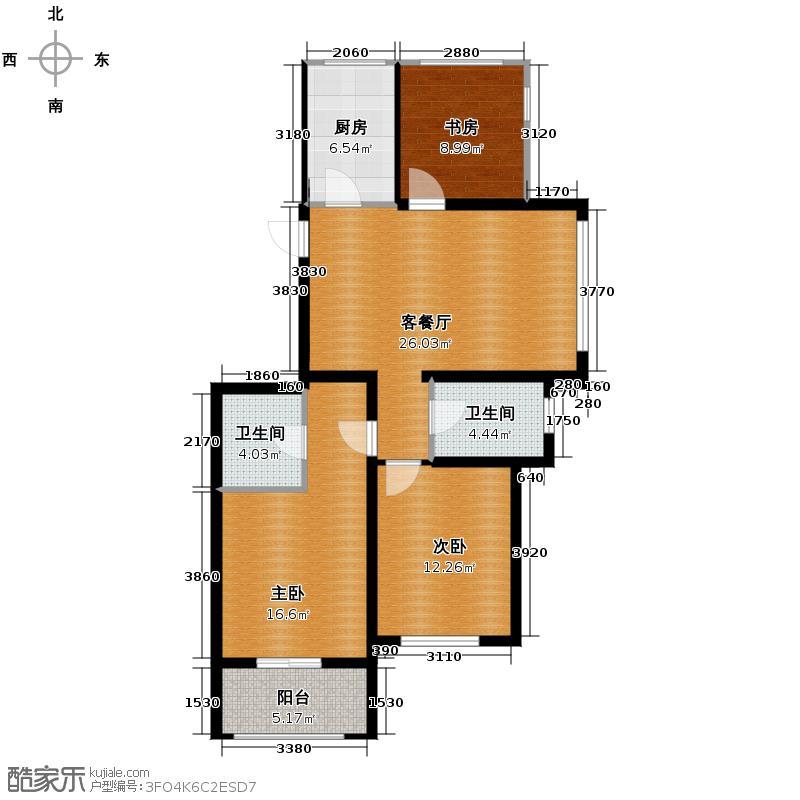 嘉凯城名城博园112.00㎡3E户型3室2厅2卫