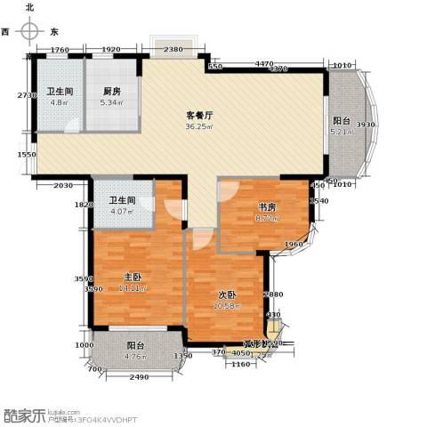 东方丽都花苑3室1厅2卫1厨133.00㎡户型图