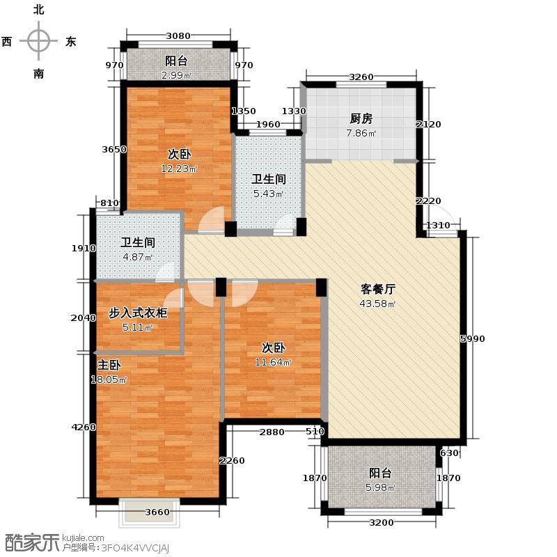 江南摩卡129.20㎡户型3室1厅2卫