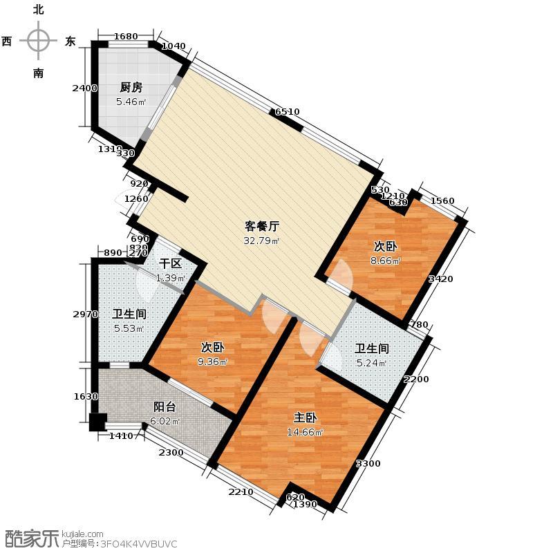 筑境2050125.69㎡户型3室1厅2卫1厨