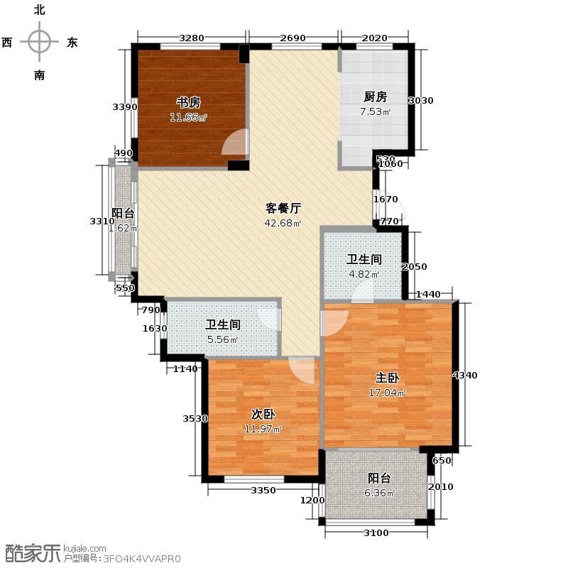 江南摩卡125.70㎡户型3室1厅2卫