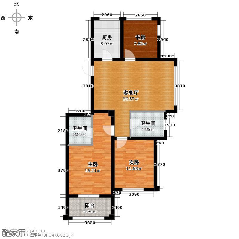 嘉凯城名城博园113.00㎡3F户型3室2厅2卫