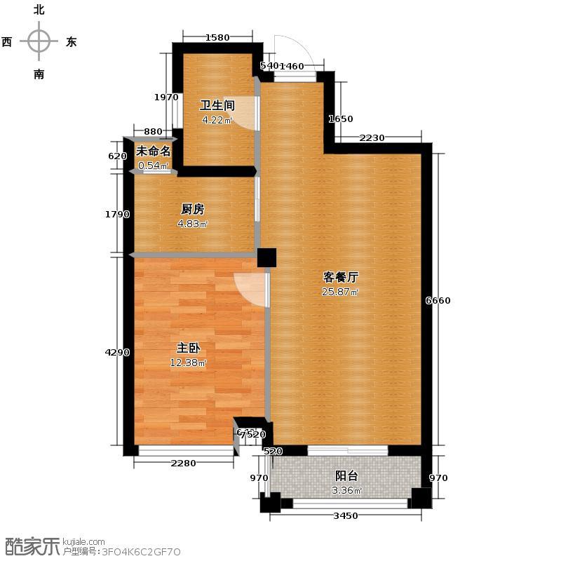 嘉凯城名城博园59.00㎡1K户型1室2厅1卫