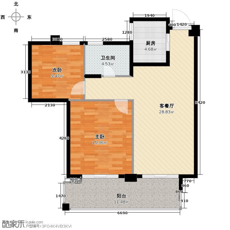 滨江凯旋门89.00㎡F户型2室1厅1卫1厨