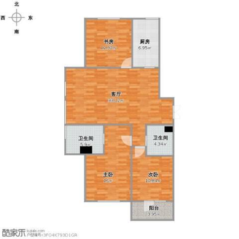 皇冠花园二期3室1厅2卫1厨125.00㎡户型图