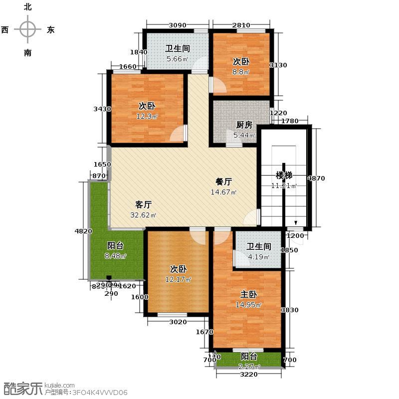 同和公寓132.66㎡户型4室1厅2卫1厨