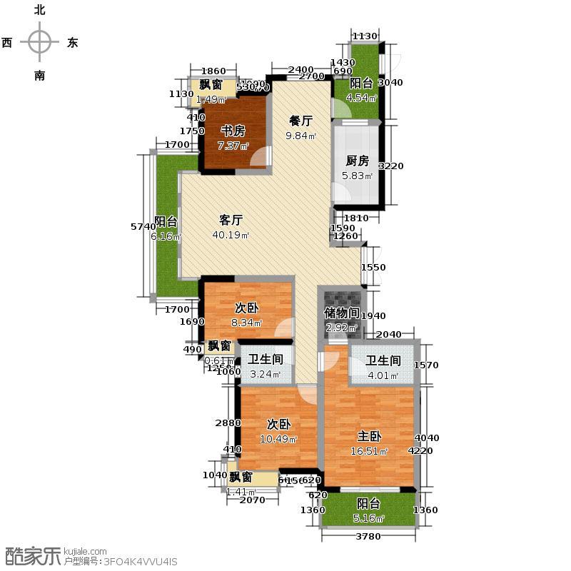 万都晶典公寓160.72㎡A1标准层户型4室1厅2卫1厨