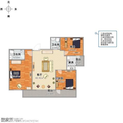 聚祥广场3室1厅2卫1厨138.01㎡户型图