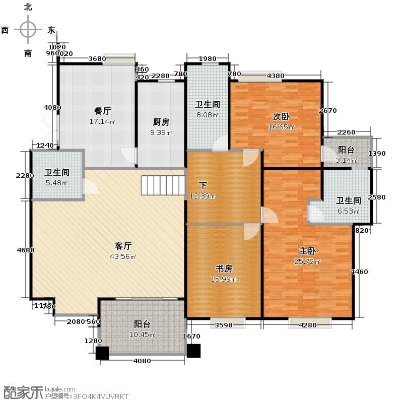 黄鹤山居188.05㎡错层15#户型3室2厅3卫1厨