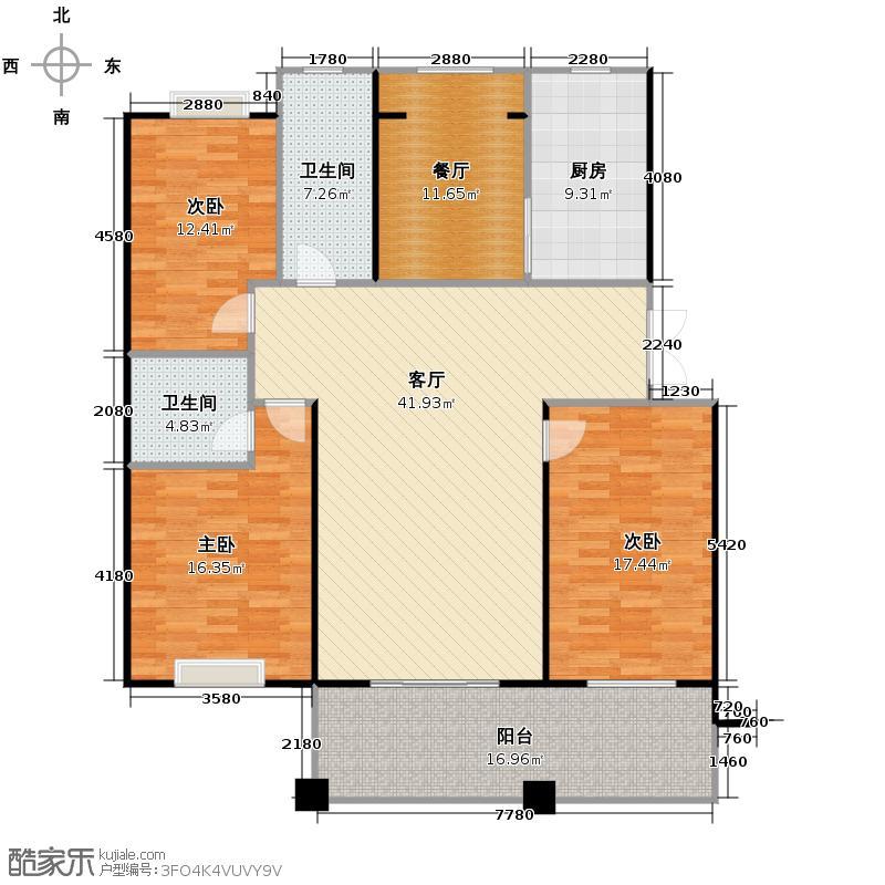 黄鹤山居144.84㎡1#1-101户型3室2厅2卫1厨