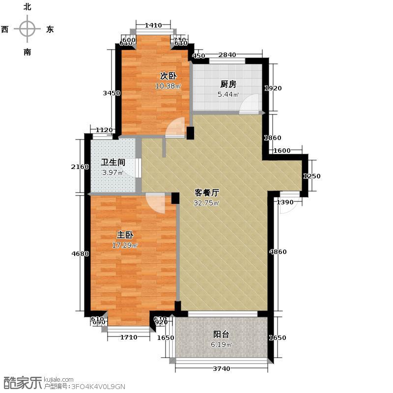 竹海水韵别墅85.06㎡户型2室1厅1卫1厨