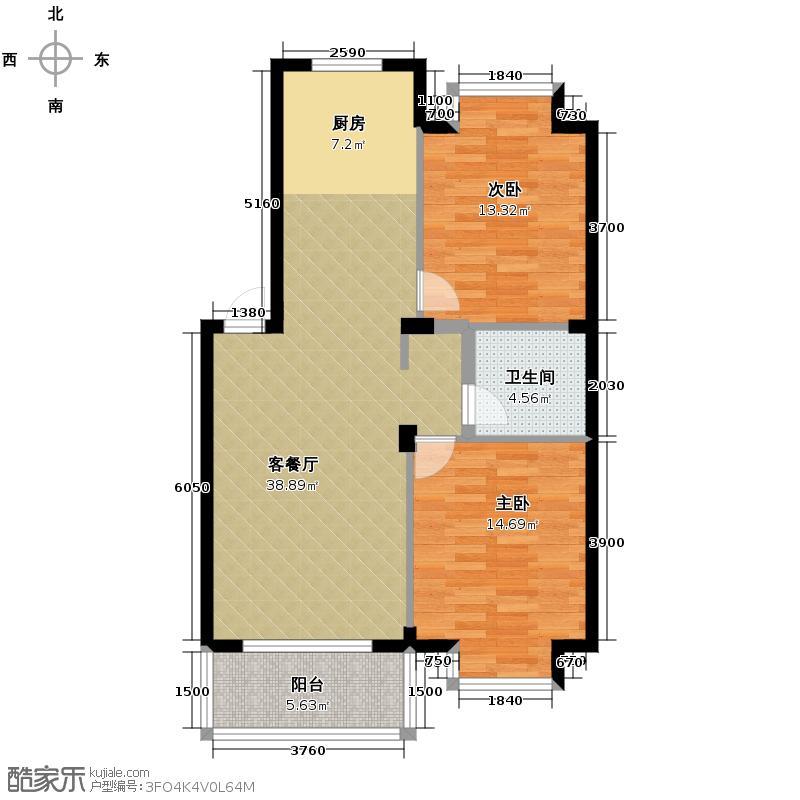 竹海水韵别墅85.74㎡户型2室1厅1卫