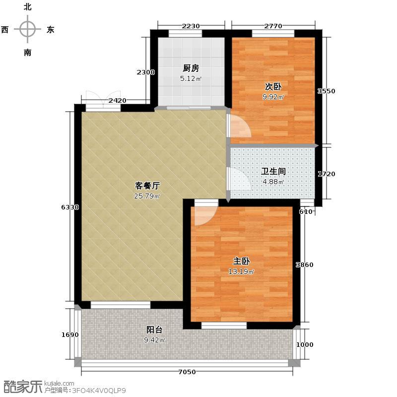 蔚蓝公寓86.00㎡绿城户型2室1厅1卫1厨
