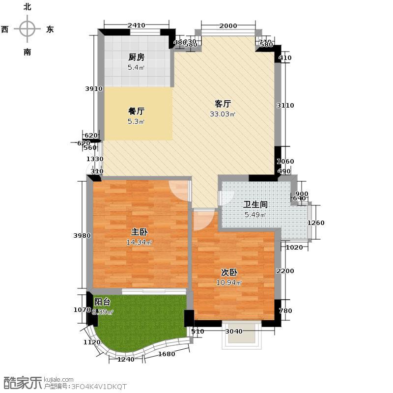 天阳美林湾88.84㎡户型2室1厅1卫