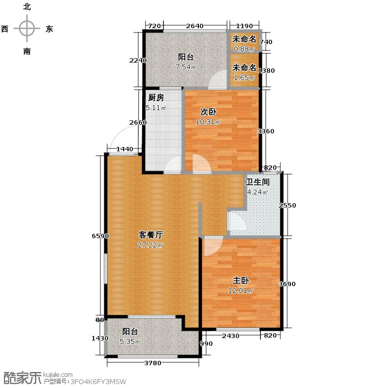 凯德龙湾88.00㎡澜E3户型2室2厅1卫
