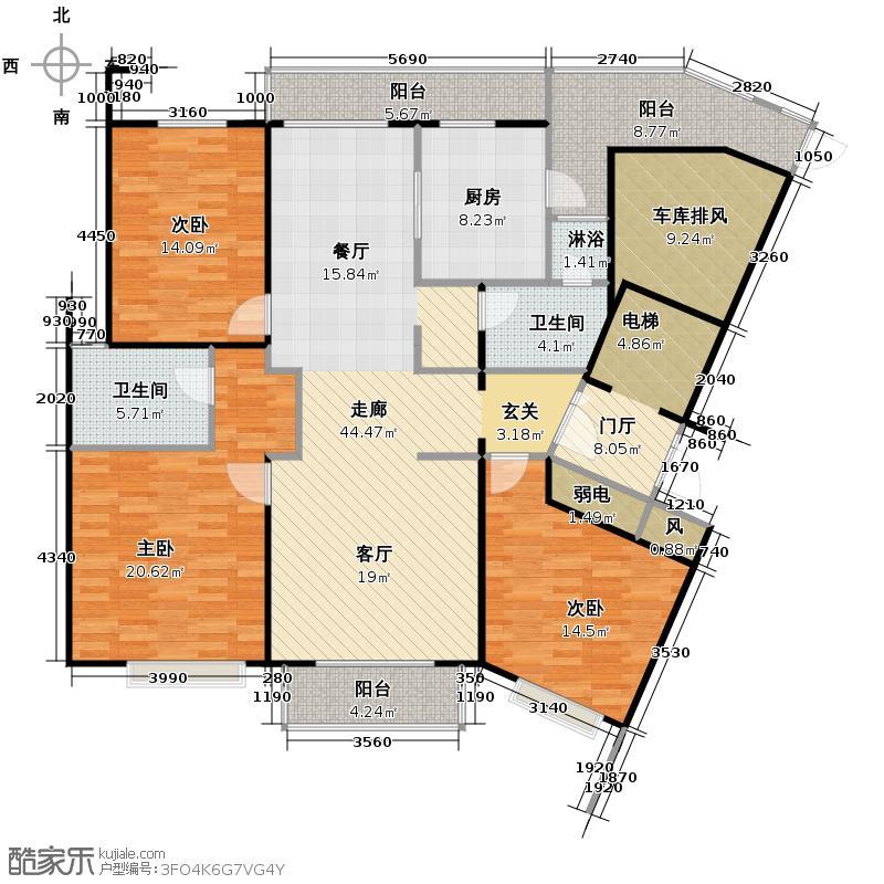 运河天城国际168.00㎡B-2户型3室2厅2卫