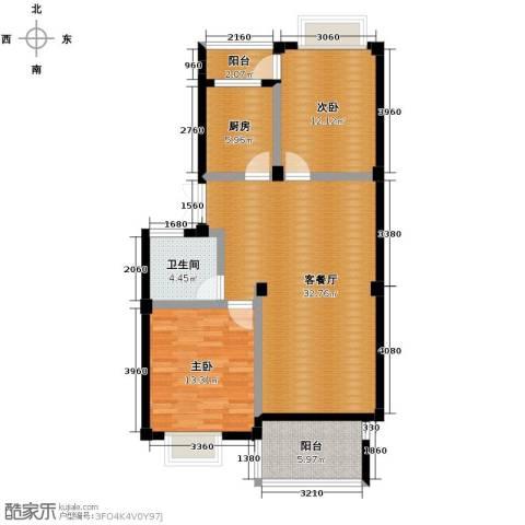 通和都市枫林2室1厅1卫1厨110.00㎡户型图