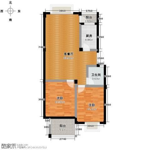 通和都市枫林2室1厅1卫1厨107.00㎡户型图