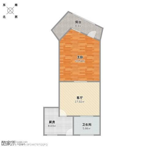 静安又一村1室1厅1卫1厨84.00㎡户型图