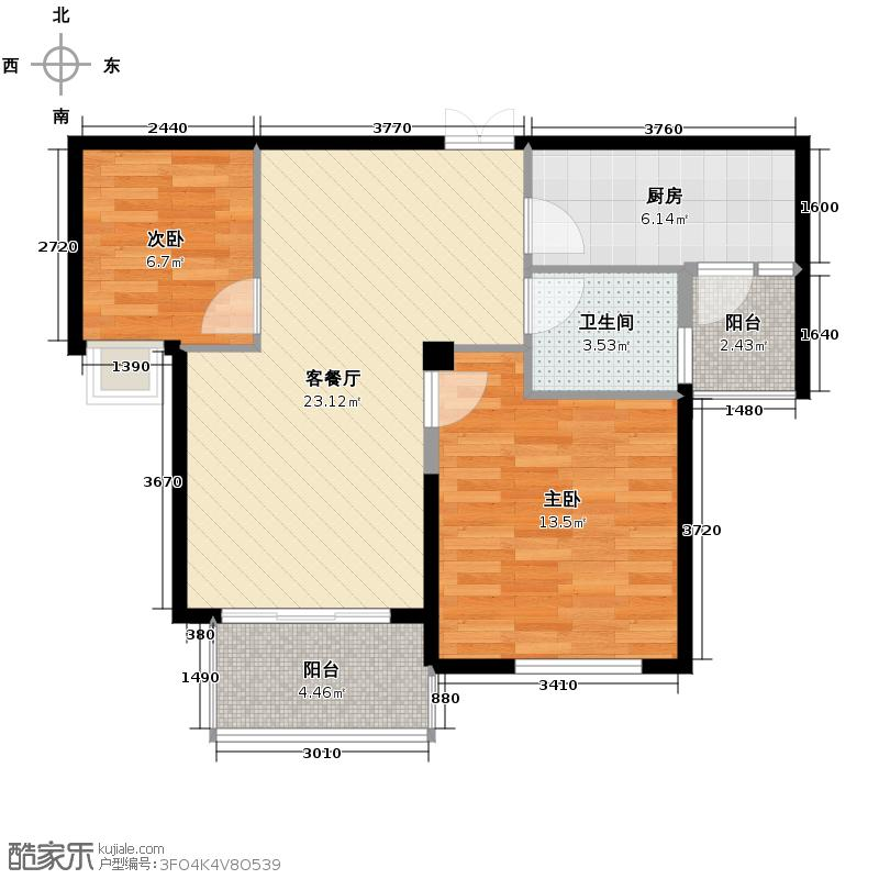 金成江南春城庭院深深88.40㎡云轩庭b7户型2室1厅1卫1厨