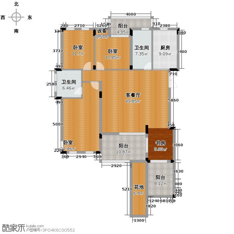 信达柳郡148.50㎡晨园A3户型4室2厅2卫