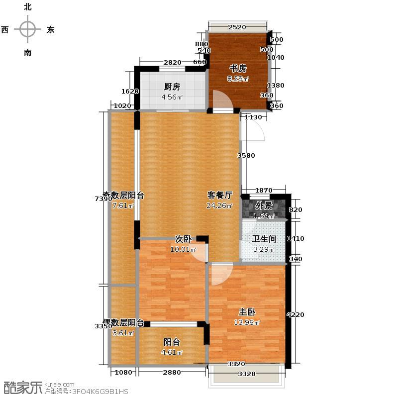 滨江凯旋门89.00㎡三期3、6号楼西边套7号楼东边套H户型3室2厅1卫