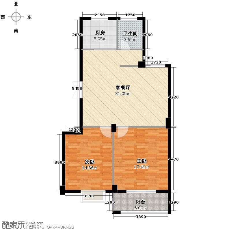 景丽华庭93.00㎡C户型2室1厅1卫1厨