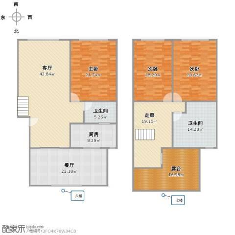 上泰花苑3室2厅2卫1厨251.00㎡户型图