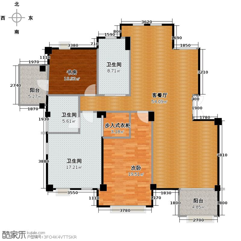戈雅公寓138.18㎡户型2室1厅3卫