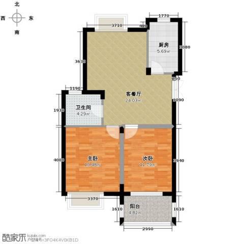 伊萨卡排屋2室1厅1卫1厨91.00㎡户型图