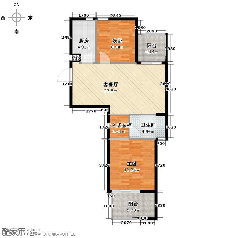 桂花星城85.00㎡一期1号楼偶数层户型2室1厅1卫1厨