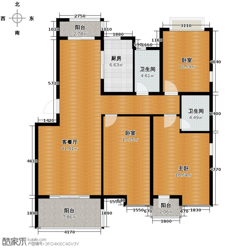 贺田尚城�湾138.00㎡D-C户型3室2厅2卫