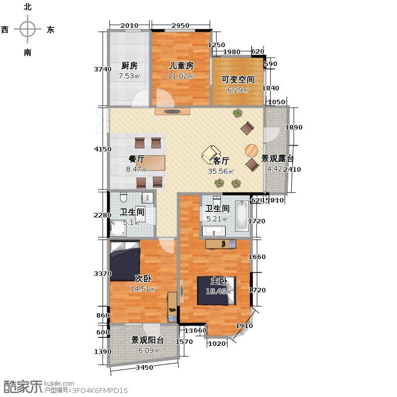 昆仑天籁122.00㎡G3、4楼奇数层与2、5偶数层户型4室2厅2卫