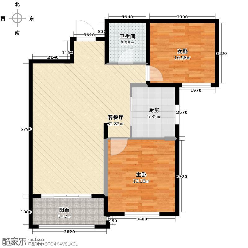 华瑞湘湖美地90.00㎡23、24号楼H2户型2室1厅1卫1厨