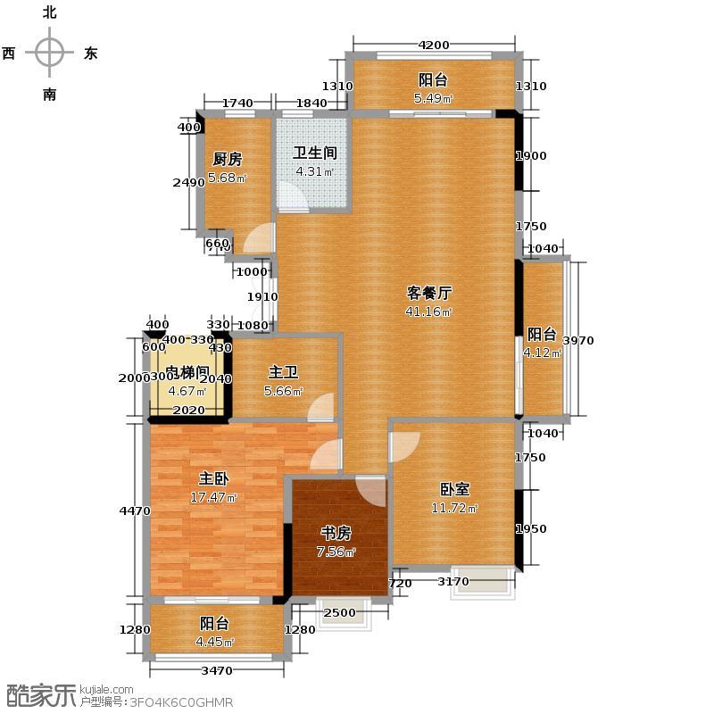 安佳北郡135.00㎡A1户型3室2厅2卫