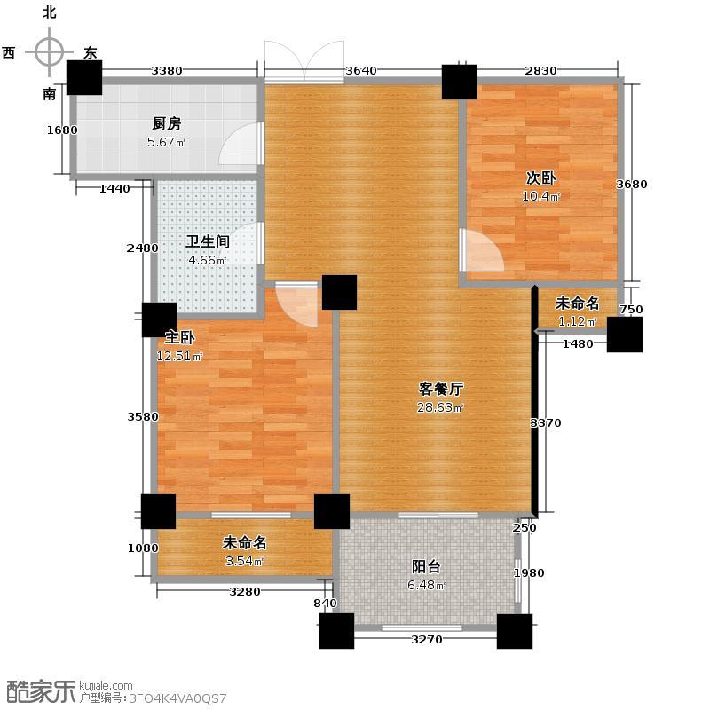 恒厚阳光城89.00㎡B户型2室1厅1卫1厨