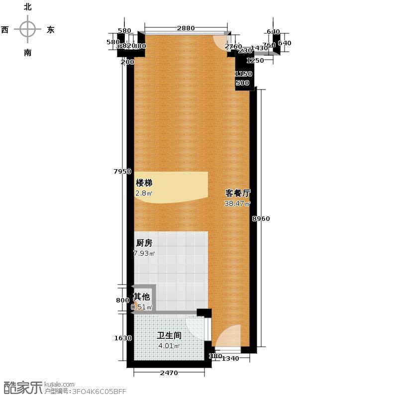 和合财富中心60.00㎡LOFT公寓E首层平面图户型2室2厅2卫
