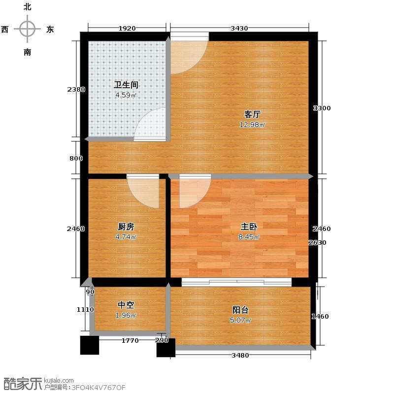 凯文和平雅苑42.88㎡户型1室1厅1卫1厨
