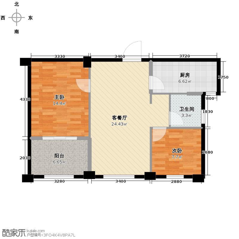 宋都阳光国际86.00㎡A3户型2室1厅1卫1厨