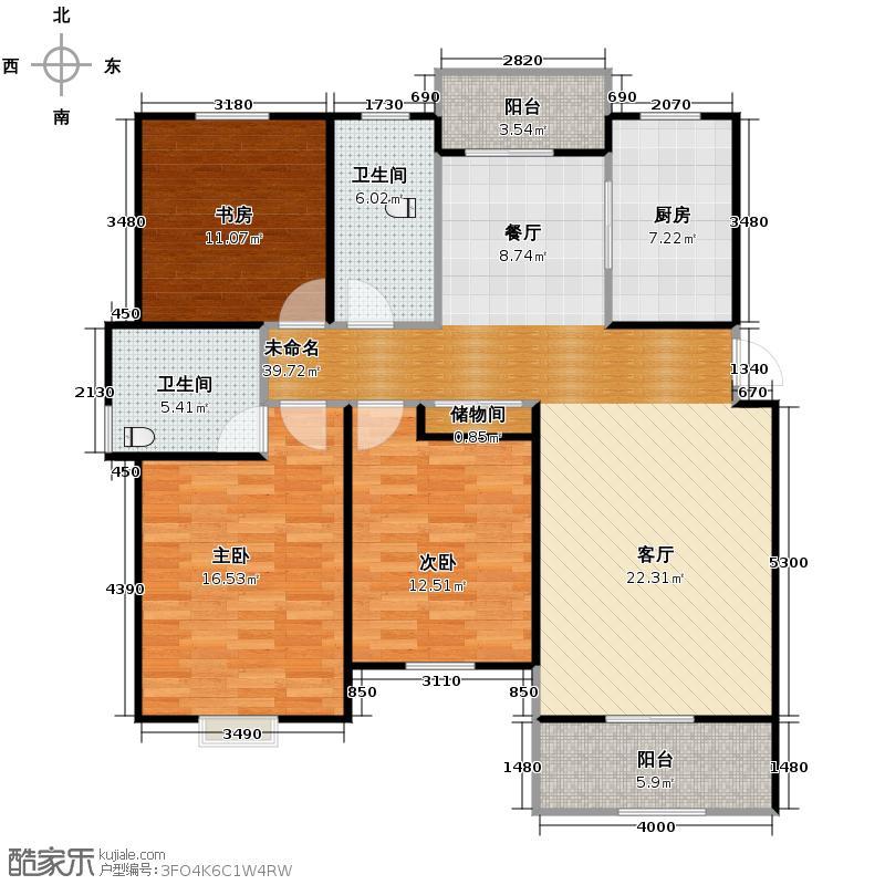 广大同城印象134.19㎡E2户型3室2厅2卫