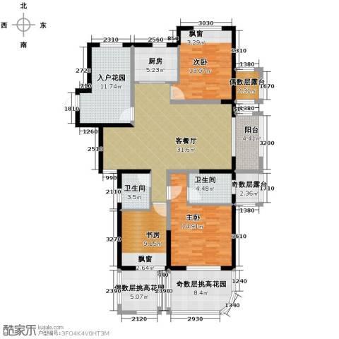 保利东湾排屋3室1厅2卫1厨168.00㎡户型图
