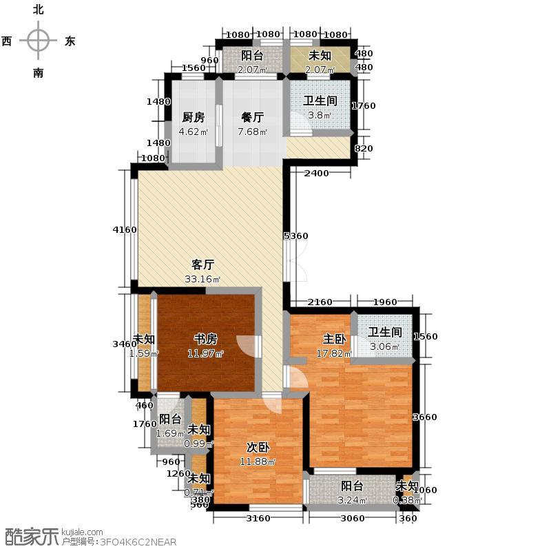 广厦天都城爵士花园140.00㎡4、7、9号楼B户型3室2厅2卫