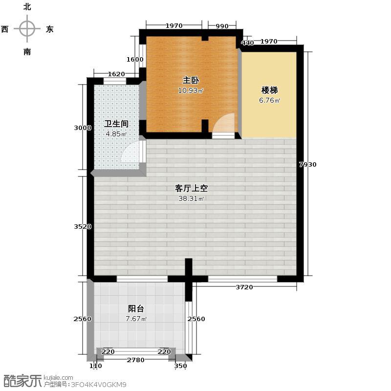 保利东湾排屋69.70㎡四期9号楼C二层户型1室1卫