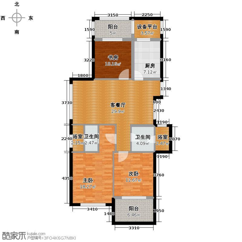 曙光之城125.00㎡11#东边套、14#西边套偶数层K2户型3室2厅2卫